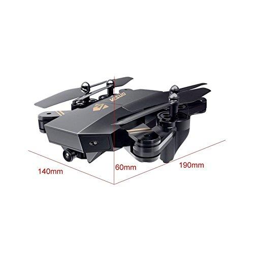 ToyPark XS809W Selfie Faltbare Kamera Drohne FPV WIFI Quadrocopter Live Übertragung APP steuerbar Hover 12 Minuten Flugzeit große Drone für alle Stufen-Piloten, plus Garantie (schwarz 3 Akkus) - 7