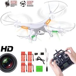 GoolRC X5C Quadrocopter Drohne Weiß 2,4Ghz mit HD Kamera 3D + 4* 600mAh GoolRC Ersatzakku - 1