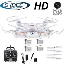 s-idee 01541 Quadrocopter X5C + 4 Akkus Forscher Syma X5C HD Kamera mit Tonaufzeichnung mit Motor-STOPP-Funktion & Akku-Warner, 360° Flip Funktion, Nachfolger vom Syma X5, 2.4 GHz, 4-Kanal, 6-AXIS Stabilization System (weiss) - 1